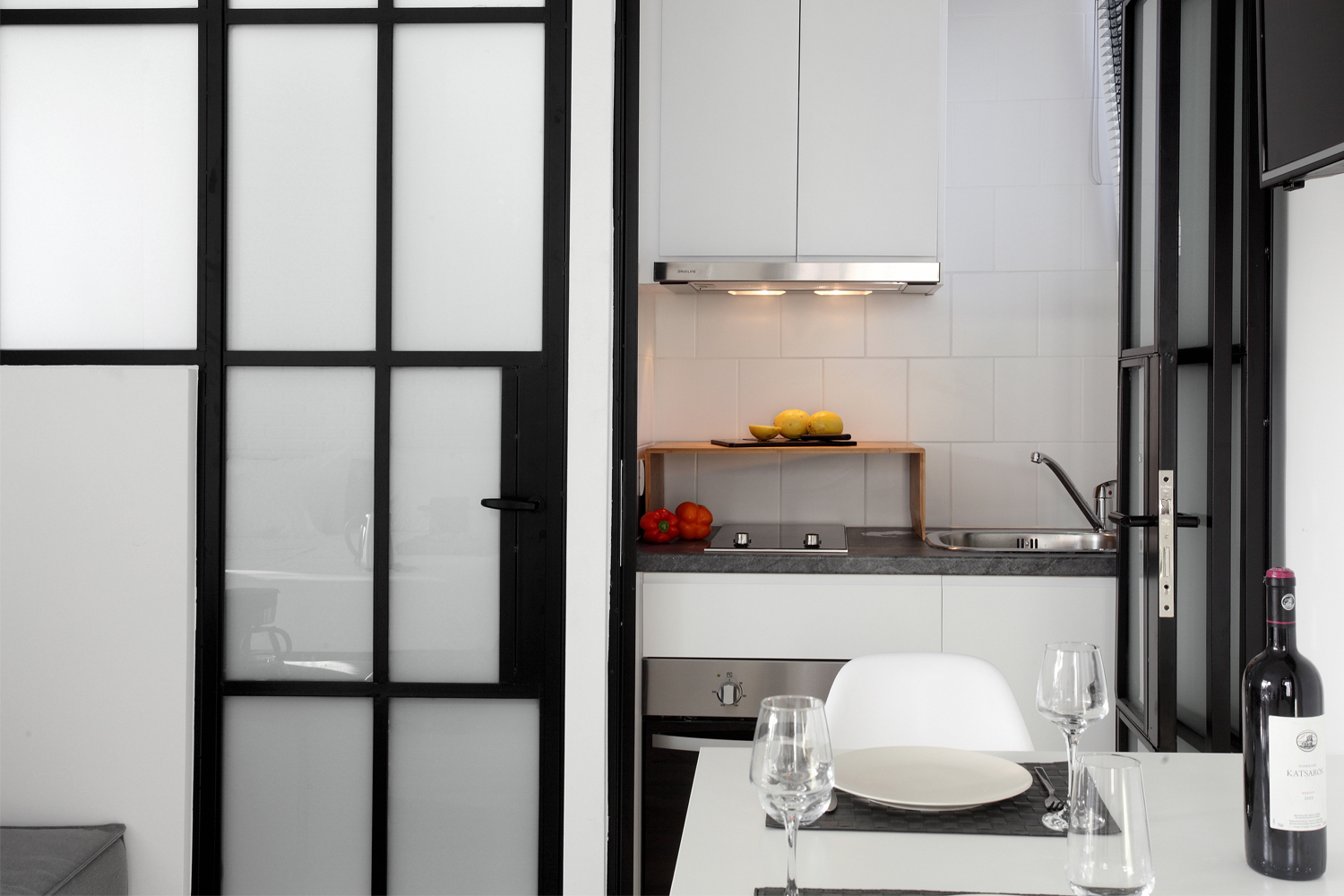 Athens view lofts create new ideas architects - Lavish white and grey kitchen for hygienic and bright view ...